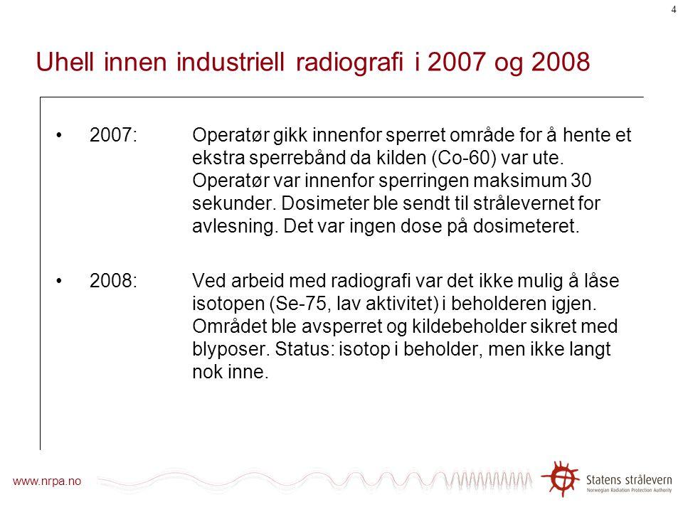 Uhell innen industriell radiografi i 2007 og 2008
