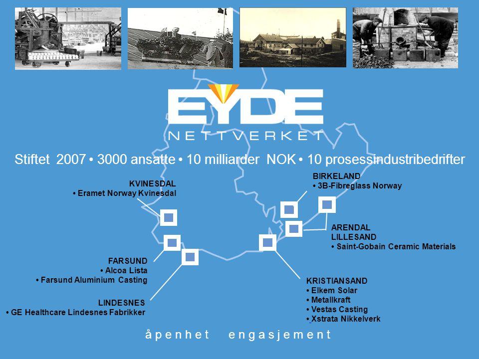 Stiftet 2007 • 3000 ansatte • 10 milliarder NOK • 10 prosessindustribedrifter