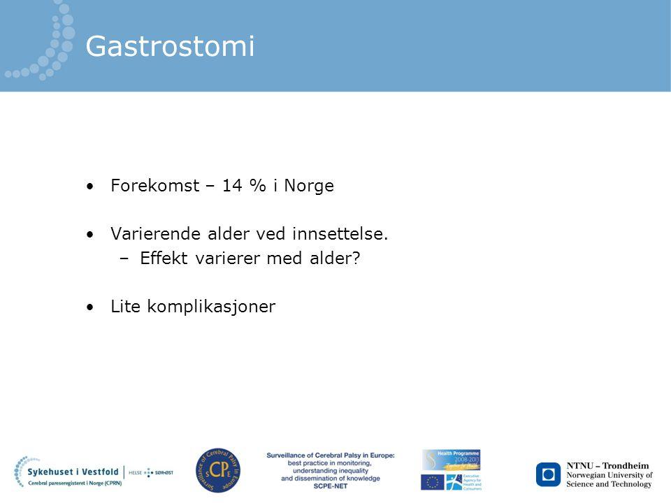 Gastrostomi Forekomst – 14 % i Norge Varierende alder ved innsettelse.