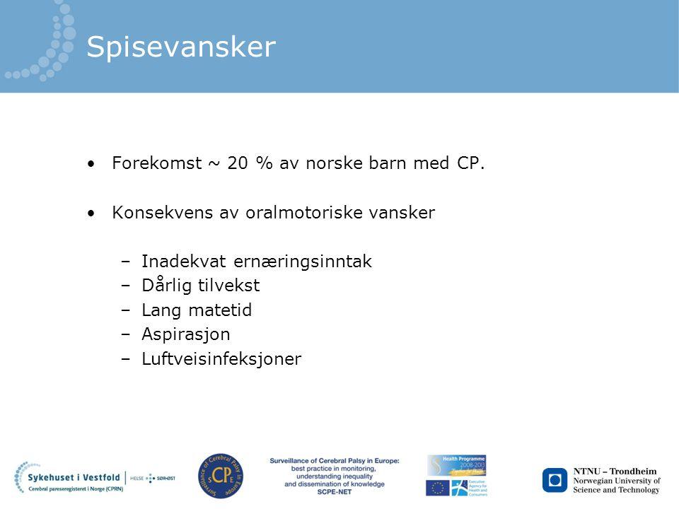 Spisevansker Forekomst ~ 20 % av norske barn med CP.