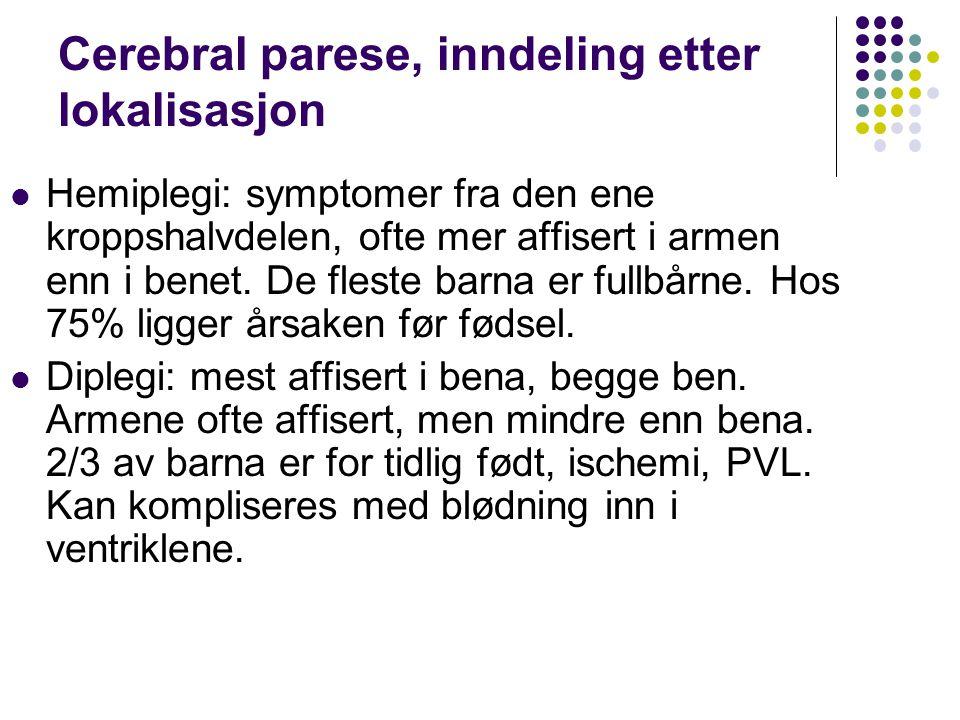 Cerebral parese, inndeling etter lokalisasjon