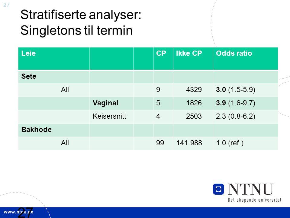 Stratifiserte analyser: Singletons til termin