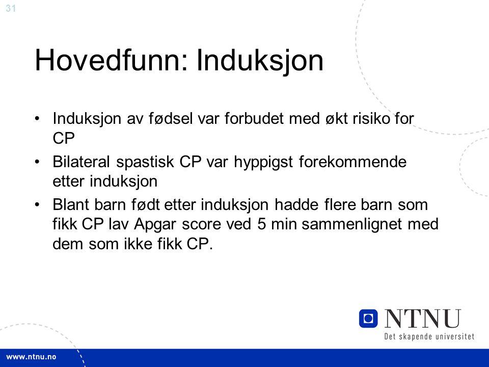 Hovedfunn: Induksjon Induksjon av fødsel var forbudet med økt risiko for CP. Bilateral spastisk CP var hyppigst forekommende etter induksjon.