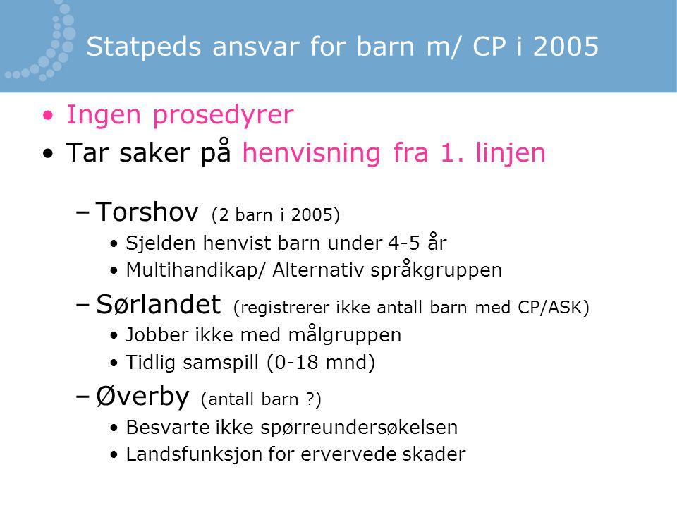 Statpeds ansvar for barn m/ CP i 2005