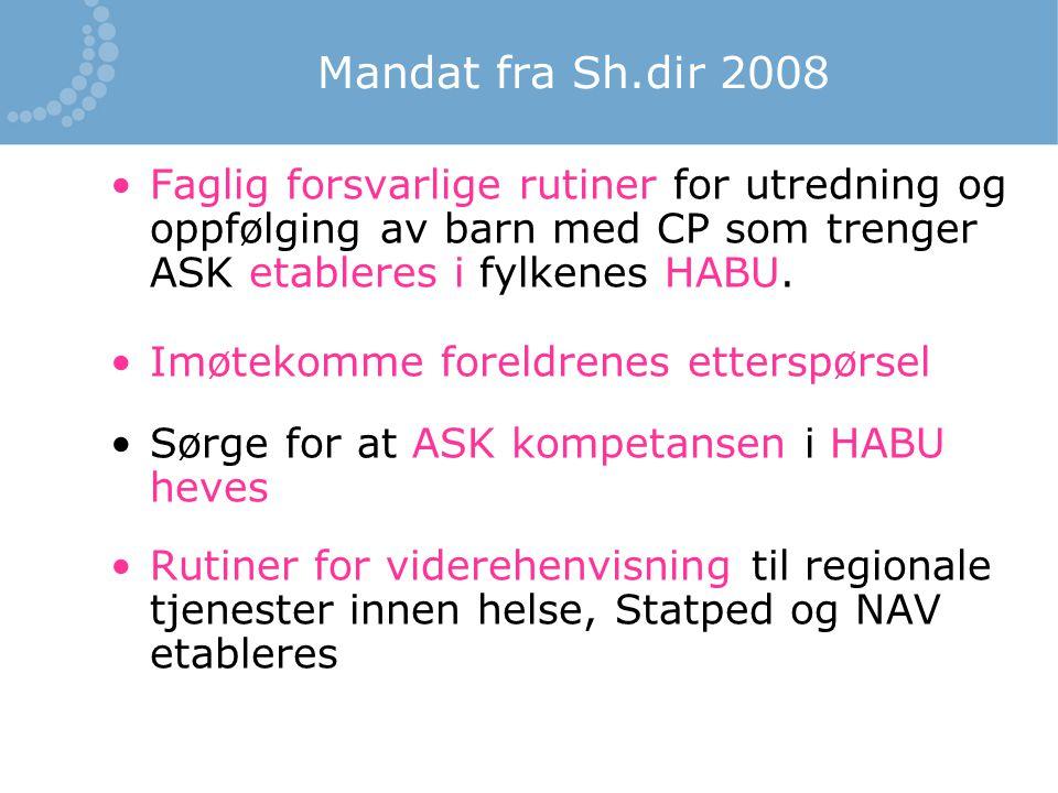 Mandat fra Sh.dir 2008 Faglig forsvarlige rutiner for utredning og oppfølging av barn med CP som trenger ASK etableres i fylkenes HABU.