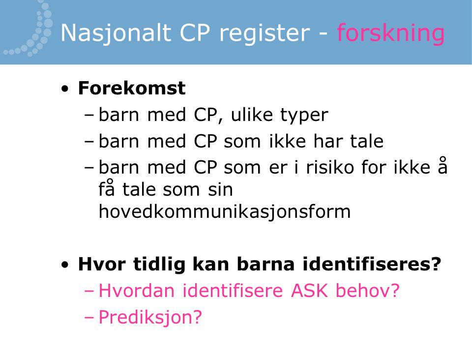 Nasjonalt CP register - forskning