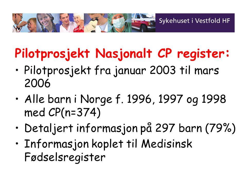 Pilotprosjekt Nasjonalt CP register: