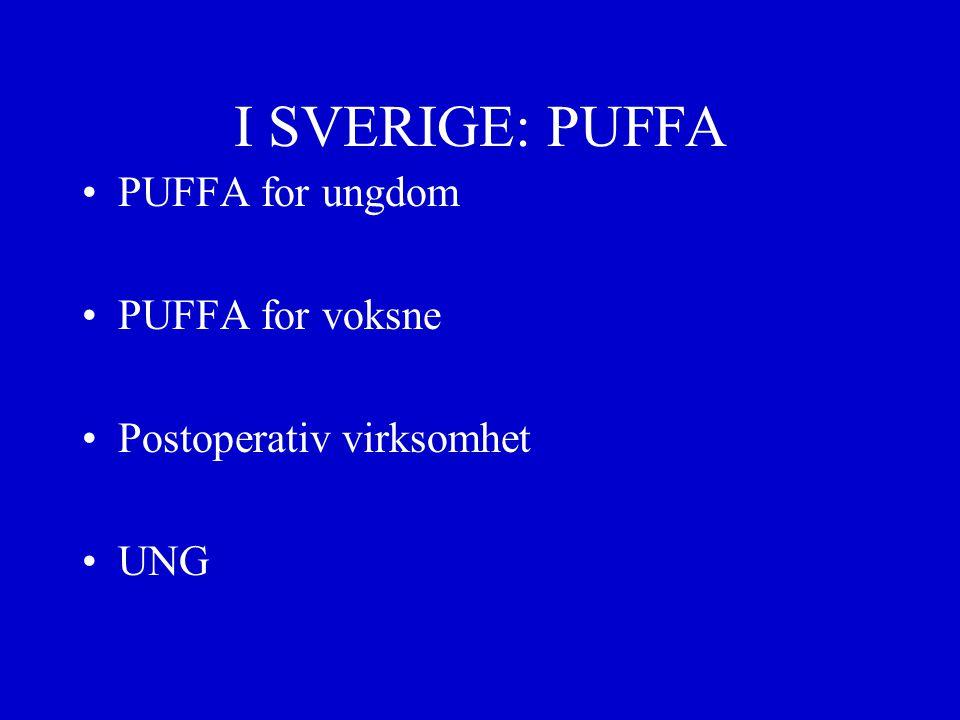 I SVERIGE: PUFFA PUFFA for ungdom PUFFA for voksne