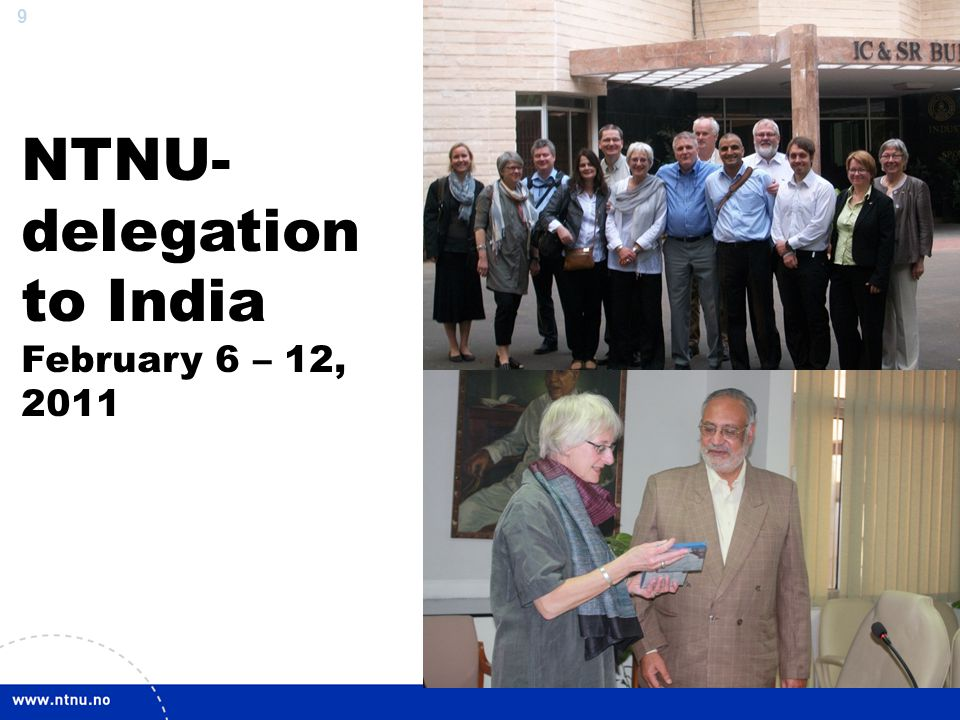 NTNU-delegation to India February 6 – 12, 2011