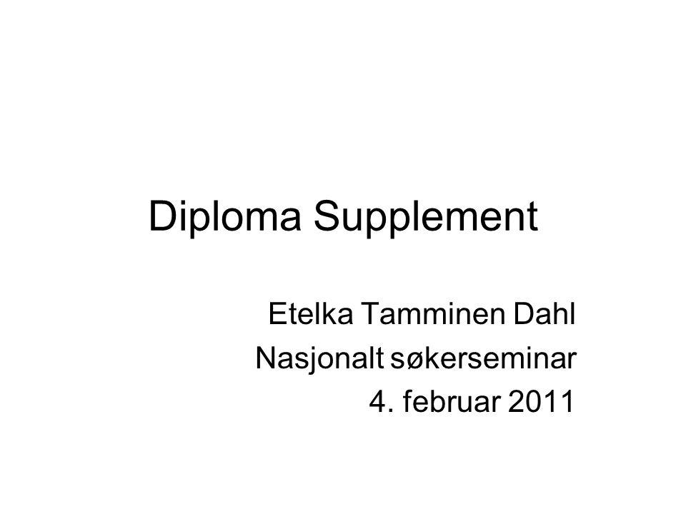Etelka Tamminen Dahl Nasjonalt søkerseminar 4. februar 2011