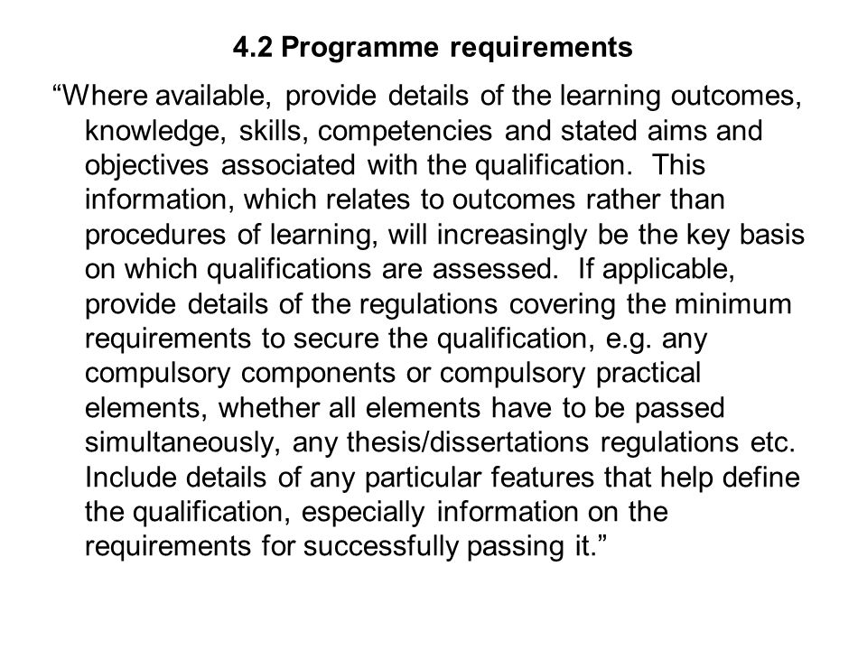 4.2 Programme requirements