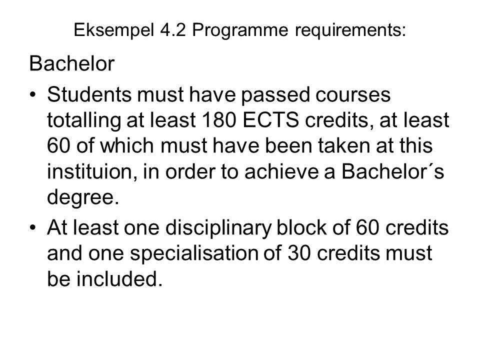 Eksempel 4.2 Programme requirements: