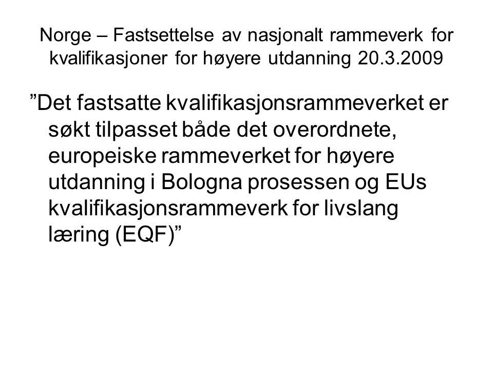 Norge – Fastsettelse av nasjonalt rammeverk for kvalifikasjoner for høyere utdanning 20.3.2009