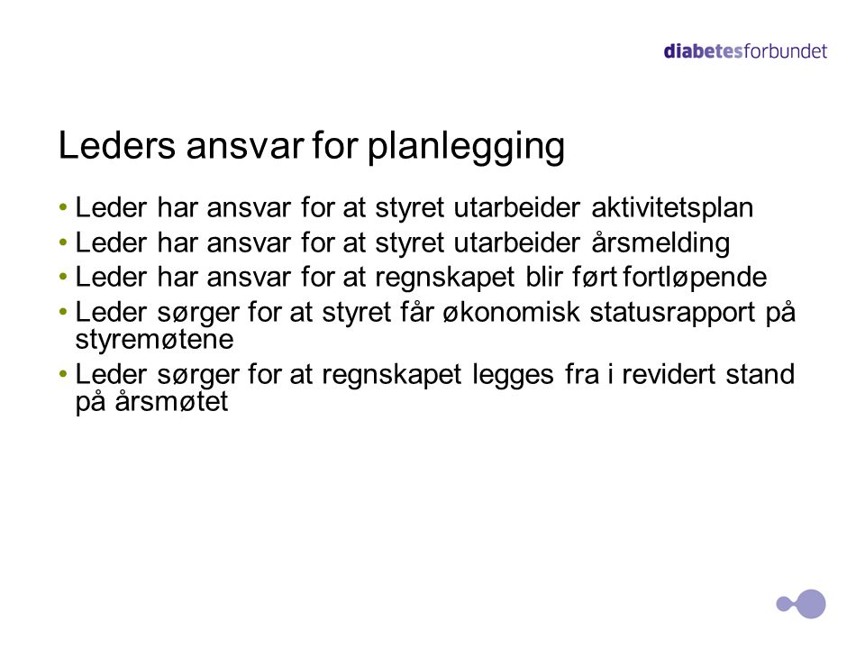 Leders ansvar for planlegging