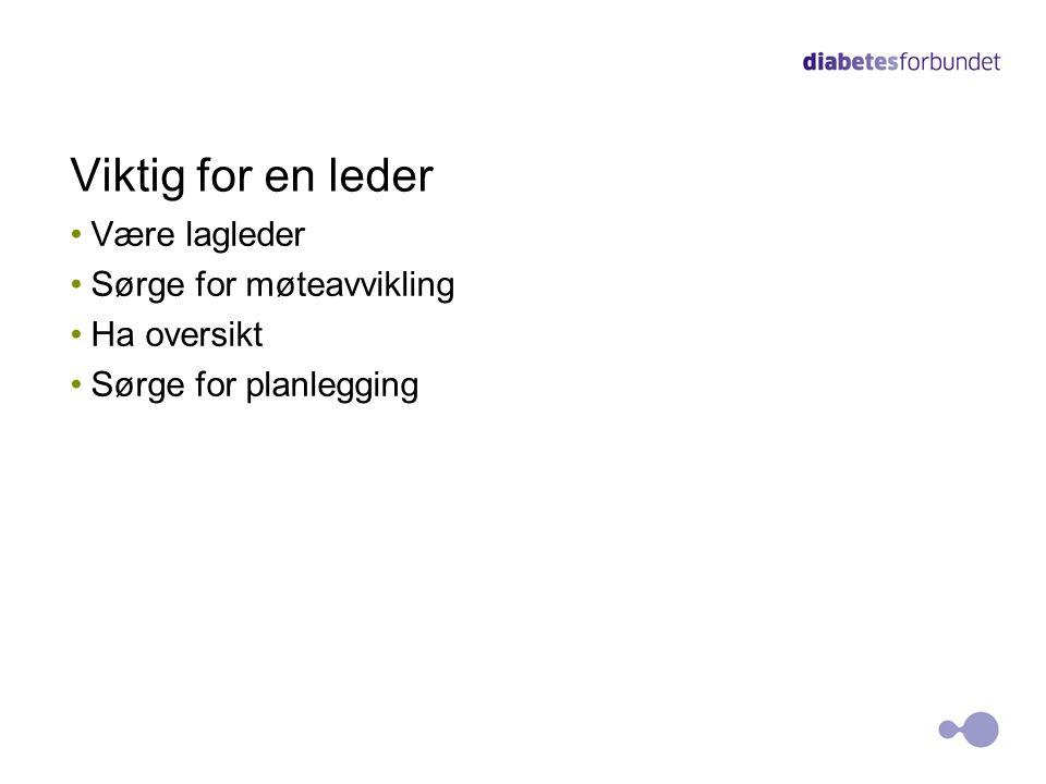 Viktig for en leder Være lagleder Sørge for møteavvikling Ha oversikt