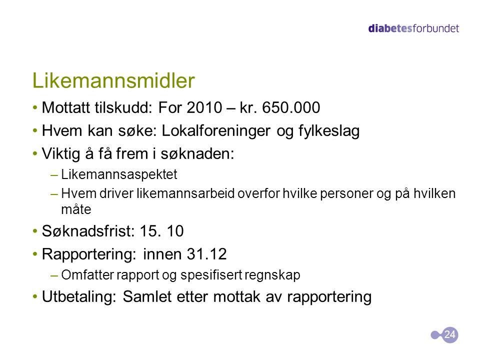 Likemannsmidler Mottatt tilskudd: For 2010 – kr. 650.000
