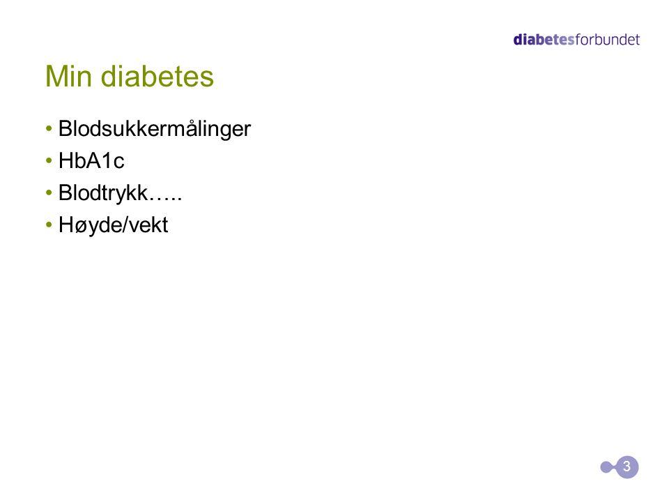 Min diabetes Blodsukkermålinger HbA1c Blodtrykk….. Høyde/vekt