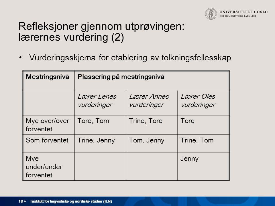 Refleksjoner gjennom utprøvingen: lærernes vurdering (2)
