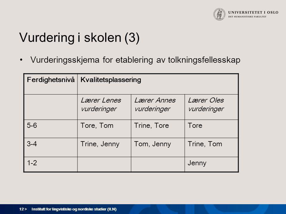 Vurdering i skolen (3) Vurderingsskjema for etablering av tolkningsfellesskap. Ferdighetsnivå. Kvalitetsplassering.