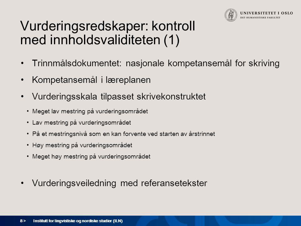 Vurderingsredskaper: kontroll med innholdsvaliditeten (1)