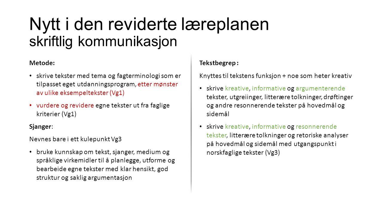 Nytt i den reviderte læreplanen skriftlig kommunikasjon