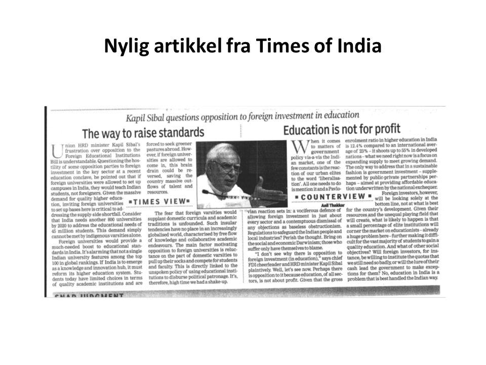 Nylig artikkel fra Times of India