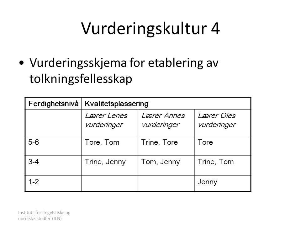 Vurderingskultur 4 Vurderingsskjema for etablering av tolkningsfellesskap. Ferdighetsnivå. Kvalitetsplassering.