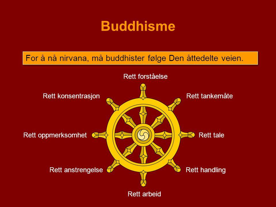 Buddhisme For å nå nirvana, må buddhister følge Den åttedelte veien.