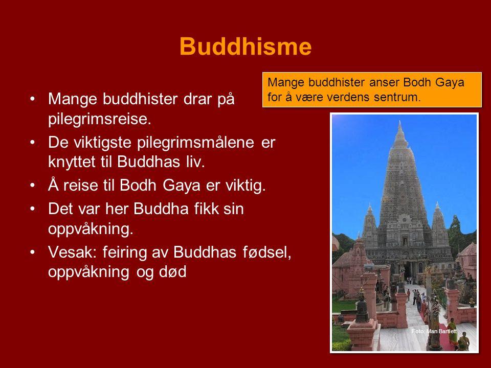 Buddhisme Mange buddhister drar på pilegrimsreise.