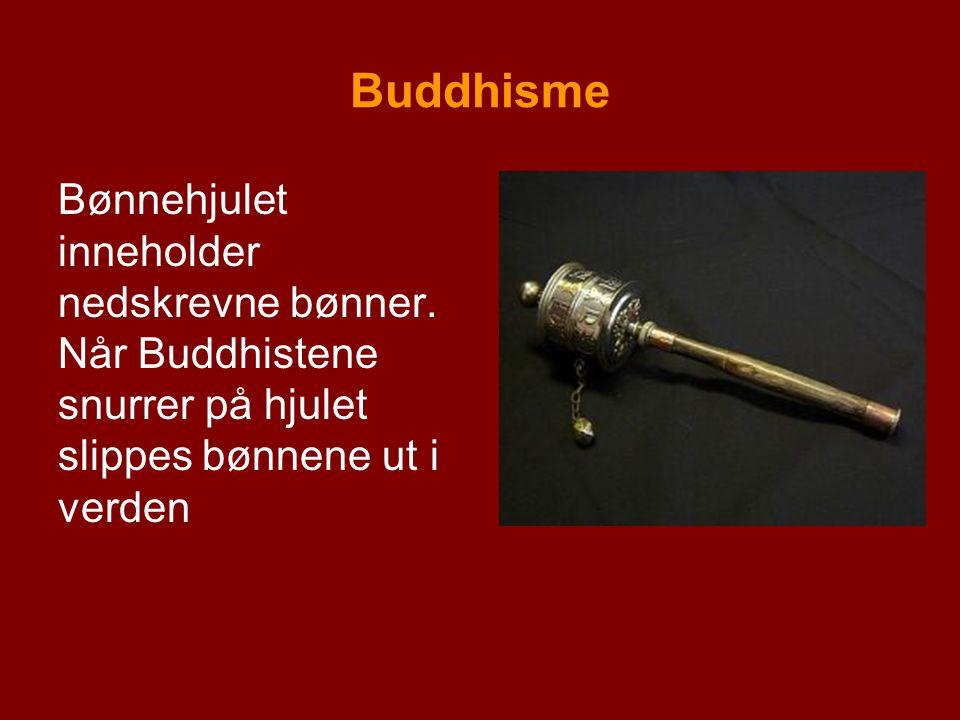 Buddhisme Bønnehjulet inneholder nedskrevne bønner.
