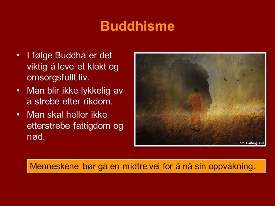 Buddhisme I følge Buddha er det viktig å leve et klokt og omsorgsfullt liv. Man blir ikke lykkelig av å strebe etter rikdom.