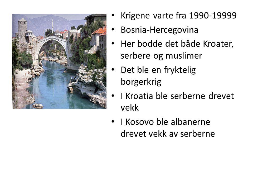 Krigene varte fra 1990-19999 Bosnia-Hercegovina. Her bodde det både Kroater, serbere og muslimer. Det ble en fryktelig borgerkrig.