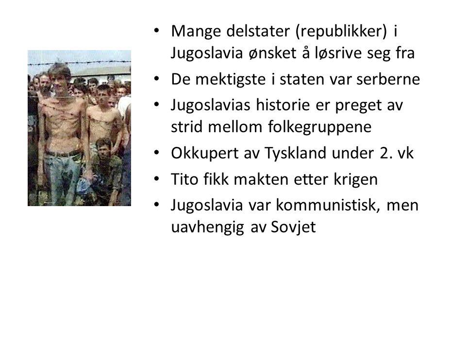 Mange delstater (republikker) i Jugoslavia ønsket å løsrive seg fra