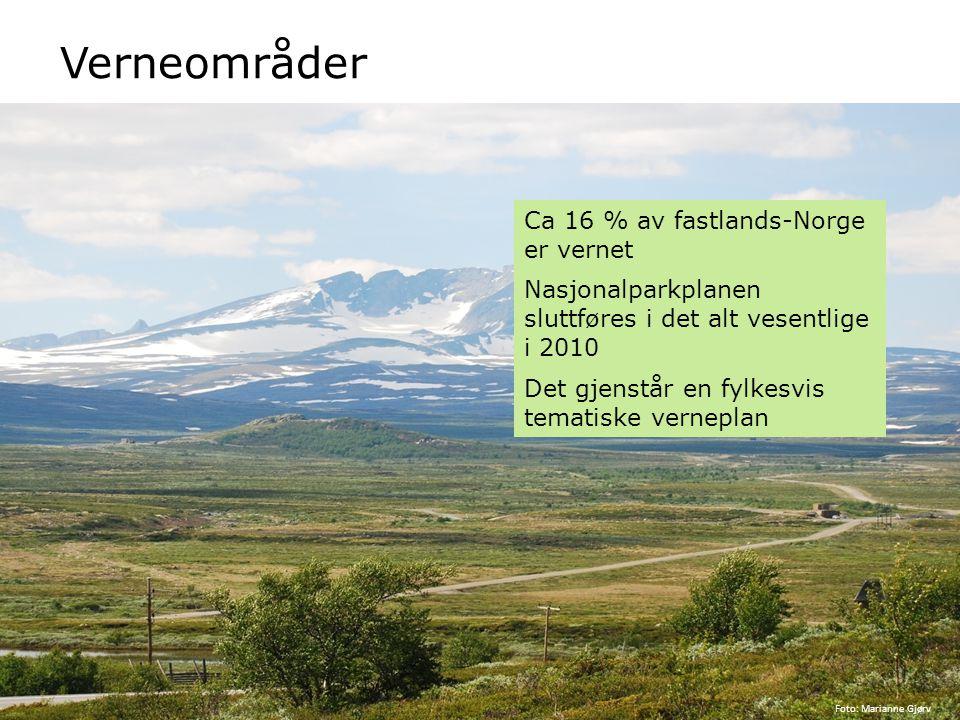 Verneområder Ca 16 % av fastlands-Norge er vernet