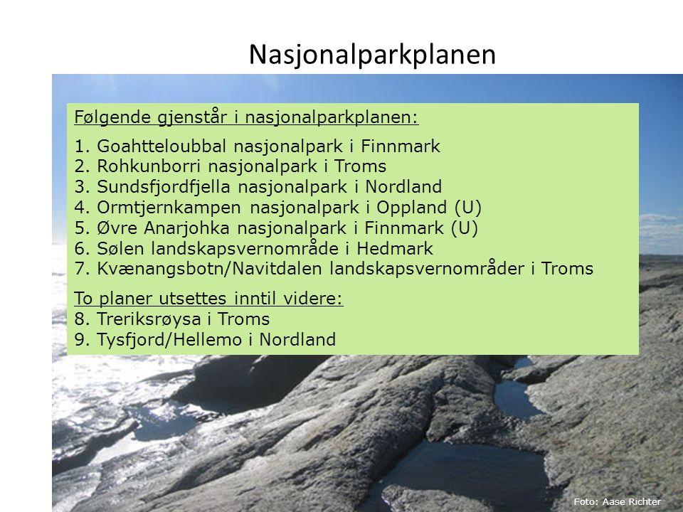 Nasjonalparkplanen Følgende gjenstår i nasjonalparkplanen: