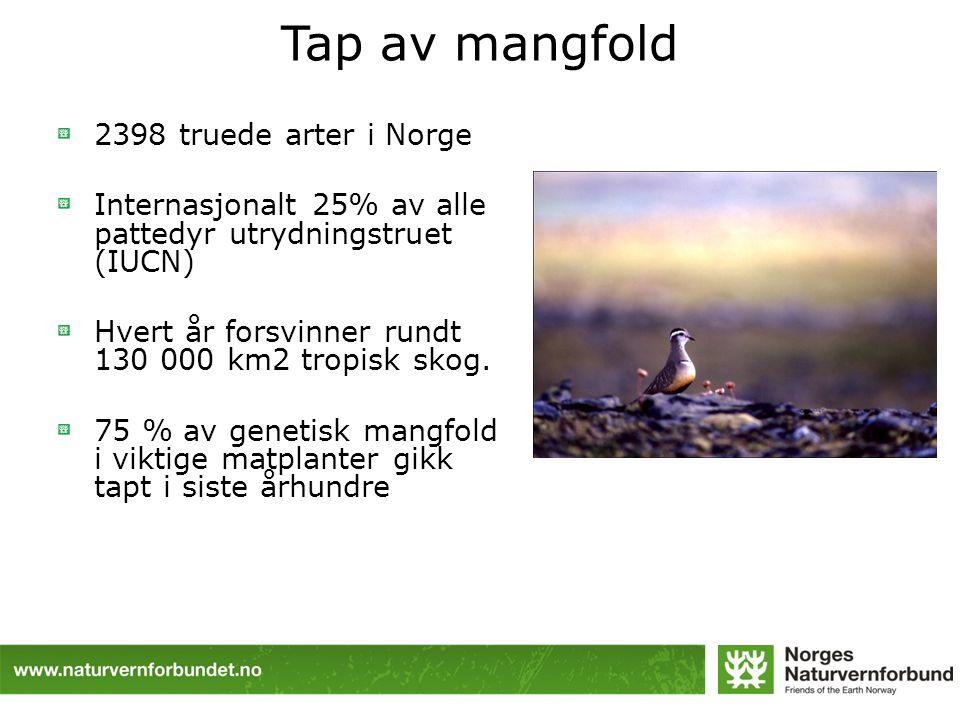 Tap av mangfold 2398 truede arter i Norge
