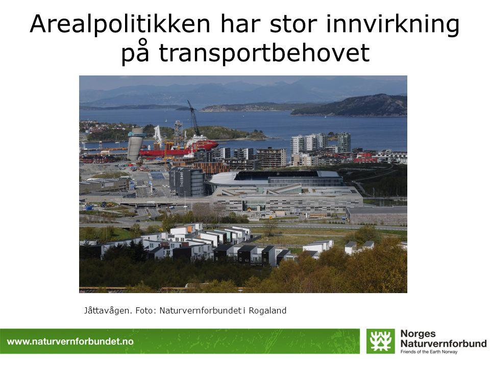 Arealpolitikken har stor innvirkning på transportbehovet