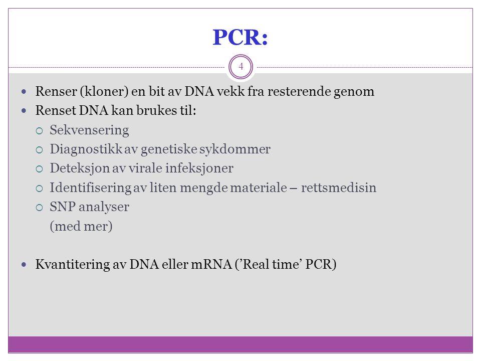 PCR: Renser (kloner) en bit av DNA vekk fra resterende genom