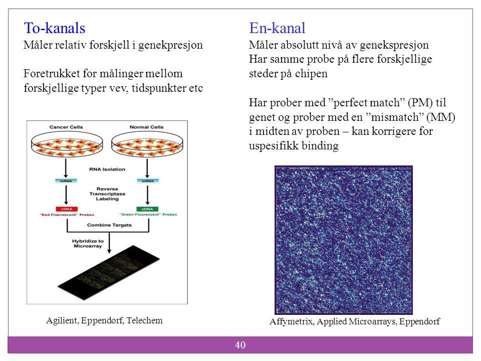 To-kanals En-kanal Måler relativ forskjell i genekpresjon