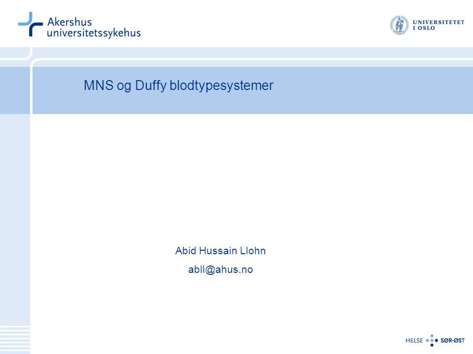 MNS og Duffy blodtypesystemer