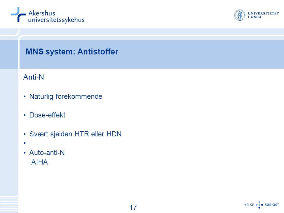 MNS system: Antistoffer