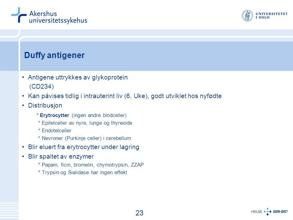 Duffy antigener 23 Antigene uttrykkes av glykoprotein (CD234)