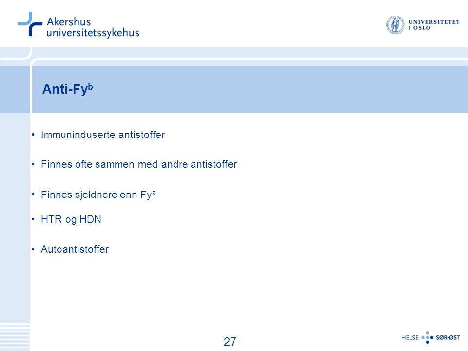 Anti-Fyb 27 Immuninduserte antistoffer