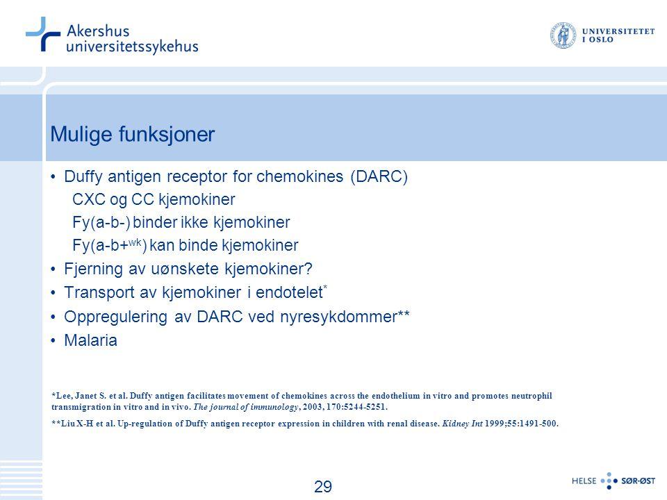 Mulige funksjoner Duffy antigen receptor for chemokines (DARC)