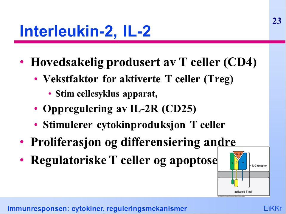 Interleukin-2, IL-2 Hovedsakelig produsert av T celler (CD4)