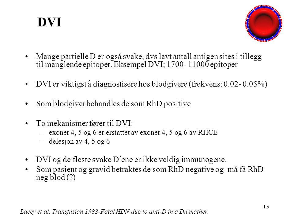 DVI Mange partielle D er også svake, dvs lavt antall antigen sites i tillegg til manglende epitoper. Eksempel DVI; 1700- 11000 epitoper.