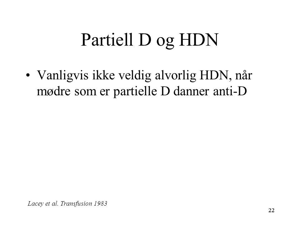 Partiell D og HDN Vanligvis ikke veldig alvorlig HDN, når mødre som er partielle D danner anti-D. Lacey et al. Transfusion 1983.
