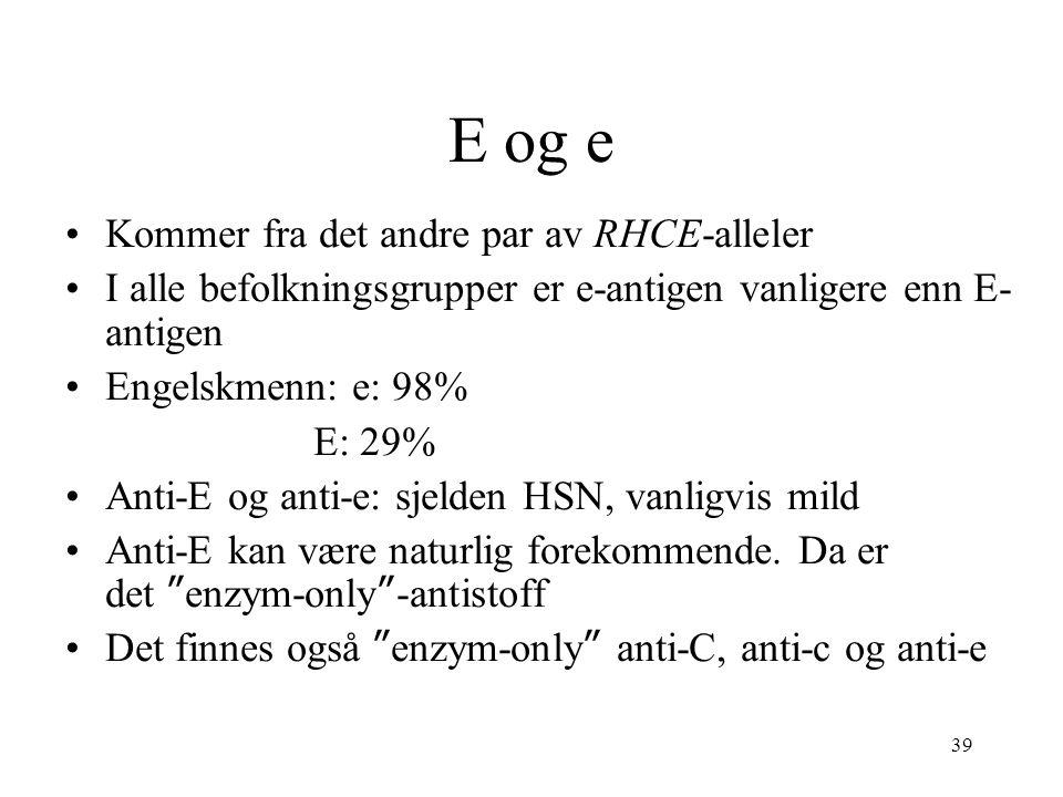 E og e Kommer fra det andre par av RHCE-alleler