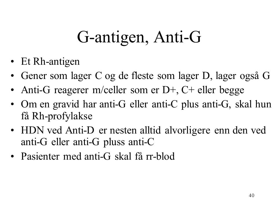 G-antigen, Anti-G Et Rh-antigen