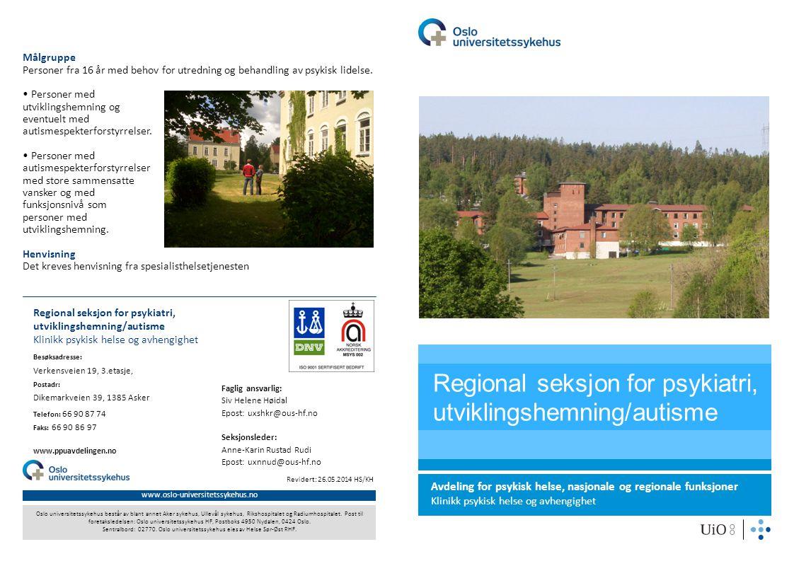Regional seksjon for psykiatri, utviklingshemning/autisme
